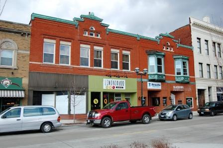 two-story two-part brick commercial building