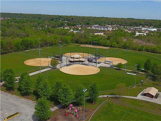 Aerial view of four baseball diamonds