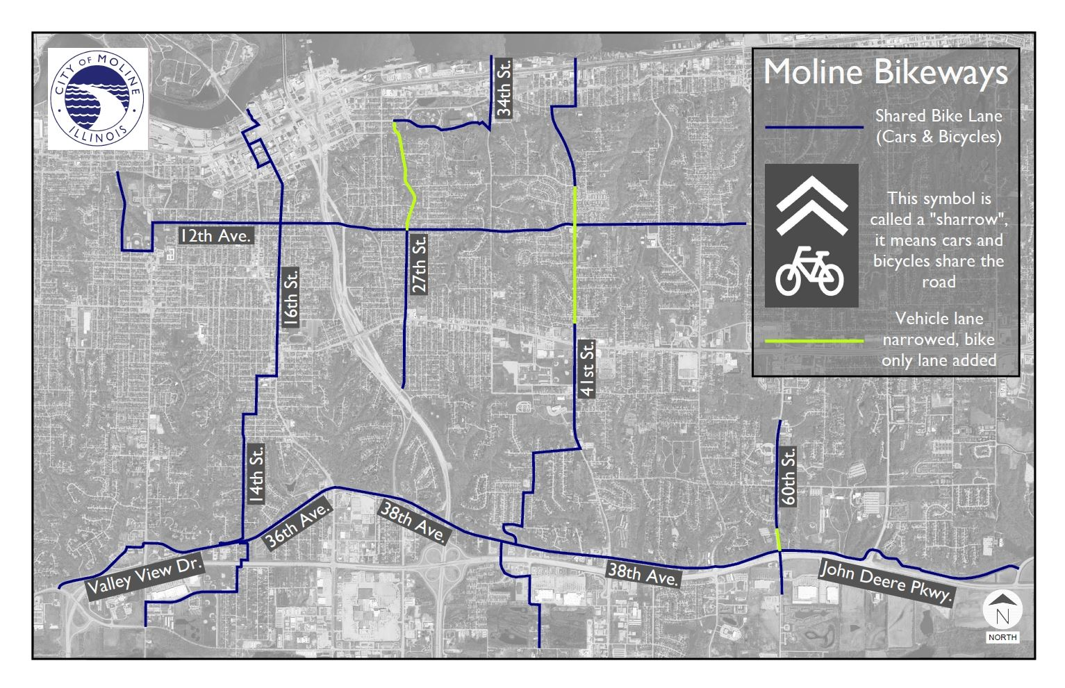 Moline Bikeways Map